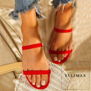 NEW🔥 Dual Strap Open Toe Flat Sandal Slide Mules